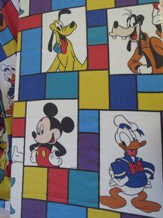 This is a vintage Mickey Mouse flat sheet. It is 50% cotton, and 50% polyester. It has consistent light pilling.    It would make fun fabric for a
