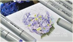 Hydrangeas on Different Papers / what you really need to know about Copic markers and paper