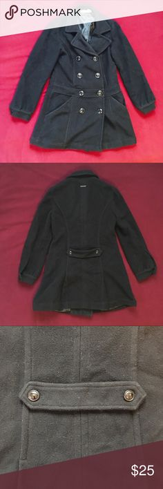 DKNY Wool Peacoat Double Breasted-Small-Black DKNY Wool Peacoat Double Breasted-Small-Black. Used, has pilling on sleeves and by pockets as seen in photo. Two of the buttons has a minor scratch . Dkny Jackets & Coats Pea Coats