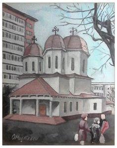 Femlora: Pictor, Grafician: Biserică in lucru - ulei pe pan... Artist, Painting, Artists, Painting Art, Paintings, Amen, Drawings