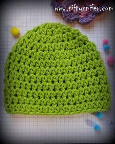 Easy Crochet Patterns Free Crochet Pattern For Half Double Crochet HDC Beanie All Sizes By Niftynnifer Bonnet Crochet, Crochet Beanie Pattern, Crochet Cap, Crochet Baby Hats, Crochet Scarves, Free Crochet, Hdc Crochet, Easy Crochet Hat, Crochet Round