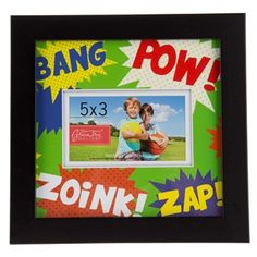 """For John: Black Bang Pow Zoink Zap Frame will complement your little boy's room! Each black frame comes with a multi-color photo mat that features the words, """"bang"""", """"pow"""", """"zoink"""" and """"zap"""" that are reminiscent of his favorite superhero comics and graphic novels. Place a picture of your son with his best pals in this frame and hang in his room to remind him of the best times.        Dimensions:    Frame:      Length: 8 ..."""