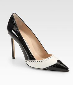 Manolo Blahnik Agata Leather & Patent Leather Spectator Pumps in Black
