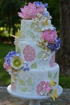 Beautiful Painted Flower Garden Cake