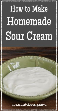 How to Make Homemade Sour Cream - Oh Lardy! :: Want some simple tips to help you learn how to foods at home? Join our email series that will teach you everything you need to know: Milk Recipes, Cheese Recipes, Real Food Recipes, Cooking Recipes, Yummy Food, Cooking Tips, Chicken Recipes, Dairy Recipes, Cooking Corn