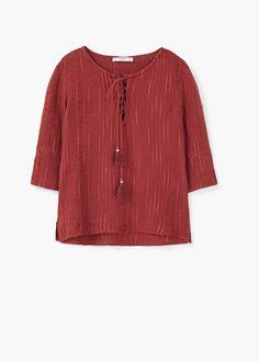 Блузка с плетеным шнуром   MANGO МАНГО