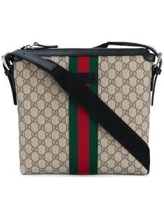 GUCCI web GG messenger bag. #gucci #bags #shoulder bags #leather #nylon #cotton #