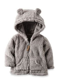 Carters Gray Hooded Sherpa Zip-Front Jacket
