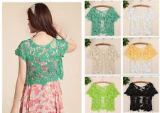 Vintage Crochet Lace Embroidery Floral Tee T-Shirt Top T Shirt Blouses  -  $3.99 + $1.65 to ship.