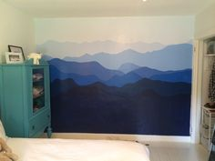 Blue Ridge Mountains painted on bedroom wall Wall Murals Uk, Bedroom Murals, Bedroom Wall, Kids Bedroom, Mountain Mural, Scenic Wallpaper, Room Themes, New Room, House Colors