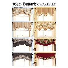 Visit the pattern department in store to browse our patterns available in store.Package includes patterns and instructions for four reversible valances. Valances are 381/2inches, 48inches and 60inches