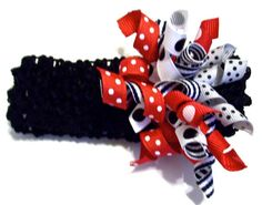 Korker Ribbon Headband Black Red White Cute by PreciousBowtique, $3.50