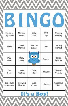 Baby Shower Bingo is played as mommy-to-be opens her gifts! Our popular blue and gray owl baby shower theme is perfect for a baby boy shower. INSTANT DOWNLOAD –