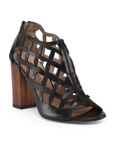 Made+In+Italy+Leather+Cage+High+Heel+Sandal