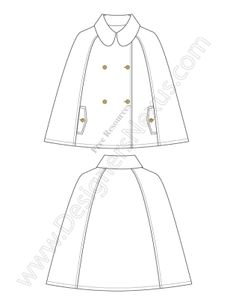 Cape / Poncho V19 Free Illustrator Technical Flat Drawing