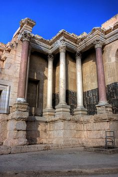 Ancient theater in Beit-She'an, Israel. Beit She'an is a city in the North District of Israel which has played an important role historically due to its geographical location at the junction of the Jordan River Valley and Jezreel Valley.