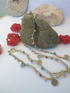 Handmade Gypsy Glass Beaded Crochet Necklace Bracelet Multi | Etsy Crystal Bead Necklace, Cluster Necklace, Crystal Beads, Glass Beads, Beaded Necklace, Necklaces, Crystals, Crochet Jewellery, Crochet Necklace