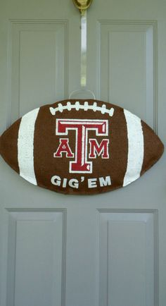 Texas Aggie football burlap door and wall hanger…perfect for an Aggie's dorm door.