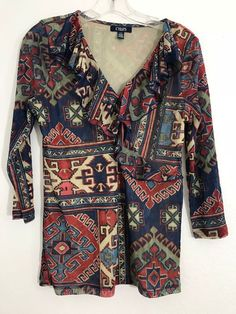 77cacd6df0 CHAPS denim women s ruffle V-neck knit top size Large multi color sleeve 49