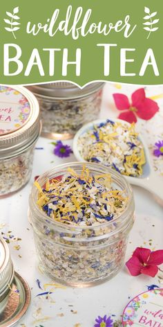 A fragrant wildflower bath tea is a great way to relax and care for your skin. This all-natural and vegan bath tea is made with rolled oats, dead sea salt, dried herbs and flowers, and essential oils. The bath tea is a great skincare product year-round and a lovely addition for a spa day at home. It also makes the perfect relaxing gift for someone special. The beauty DIY includes printable labels for packaging and gifting. #bathtea #skincare #essentialoils #giftgiving | soapdelinews.com