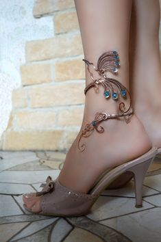 anklet anklet bangle body jewelry foot piece by AlenaStavtseva