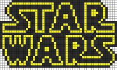 star wars logo perler bead pattern bead sprite this pattern is . Kandi Patterns, Pearler Bead Patterns, Perler Patterns, Beading Patterns, Star Patterns, Knitting Patterns, Crochet Pixel, Star Wars Crochet, Crochet Stars