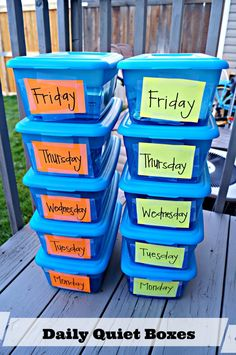 Quiet boxes for school aged kids.  These are great for an afternoon activity during the summer!!