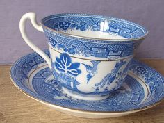 Antique 1940's Royal Grafton blue willow tea cup and saucer set, blue and white china tea cup set, English tea set, oriental birds tea cup on Etsy, $39.00