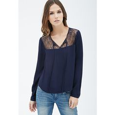 Forever 21 Women's  Lace-Paneled Pintucked Blouse ($16) ❤ liked on Polyvore featuring tops, blouses, button up blouse, long sleeve tops, floral button down blouse, button down top and blue button down blouse