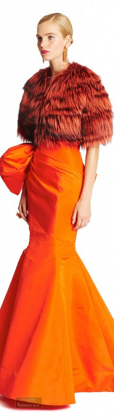 Oscar de la Renta.Pre-Fall 2015. Wish I could see the rest of this stunning gown... not fond of the fuzzy caplet...