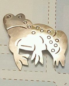 Sterling Silver Frog Pin Brooch Mexico Marked TN-61