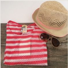 Small White & Coral Striped Swim CoverUp Dress NWT Great lightweight, small breathable swim cover brand new and perfect for Summer Beach or Pool Days 👙🔆. Approximate Measurements: bust: 34 & 1/2 inches Length: 30 inches Swim