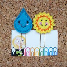 Sentía el sol y la lluvia planificador Clip | Clip de papel del sol | Imán para el refrigerador | Lindo broche | Organizador | Calendario | Accesorio de Planner | 233 201