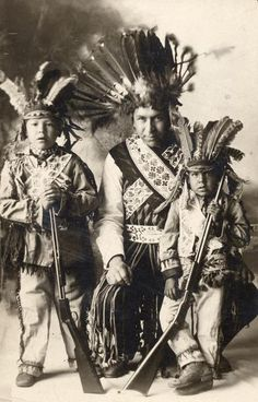 Wisconsin Ho-Chunk (Winnebago) Indians Foster DeCorah and sons. Foster and son Robert served in Co. D of the 128th Infantry and were killed in WWI.