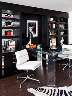 black zebra rug office