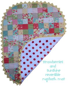 strawberries and sunshine reversible rug bath mat by sewtakeahike, via Flickr