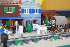 """For GFLUG's 2008 Festival of the Masters show, our theme was """"History of Transportation: Past, Present & Beyond"""". West Town, Lego Creations, Wild West, Legos, Polymer Clay, Lego, American Frontier, Modeling Dough, Logos"""