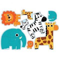 djeco puzzel jungle dieren (3,4,5,6 st) DJ07135 | ilovespeelgoed.nl