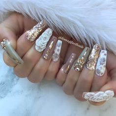 🍂Autumn Breeze🍁 By Jess! Glitter supplied by Rose gold swarovskis supplied by Rose gold tape and… Sexy Nails, Glam Nails, Fancy Nails, Bling Nails, Perfect Nails, Gorgeous Nails, Pretty Nails, Nail Effects, Crazy Nails