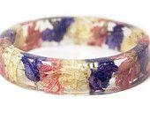Bracelet -Flower Jewelry- Real Flower Bangle- Real Flower Resin Jewelry - Jewelry made with Flowers- Pink Flower Bracelet -real flower gifts