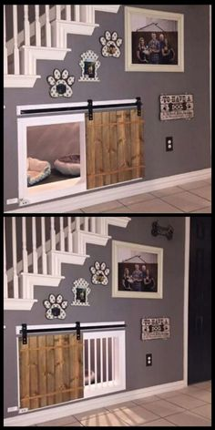 Awesome dog kennel under the stairs design idea. If you want an indoor dog house, utilizing the space under the stairs for a cozy, attractive and practical space for dogs is a good idea! I love this design.:
