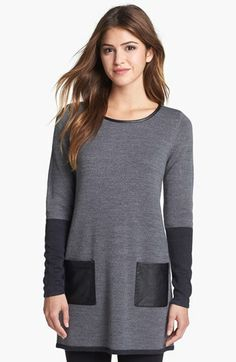 Halogen® Faux Leather Trim Tunic (Petite) available at #Nordstrom