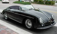 1956 Porsche Speedster.  Red interior and silver paint?