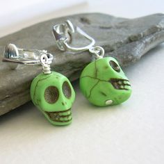 Green Skull Clip On Earrings Day of the Dead by cindylouwho2, $13.00