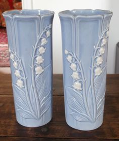 """Pair of Vases Danish Rodahl 8"""" Height Lily of The Valley Decoration 