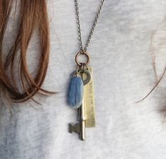 An invitation to breathe deeply and open up even more today. :: a vintage key and kyanite soul mantra necklace