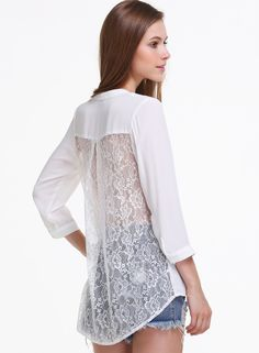 White Long Sleeve Contrast Lace Pocket Blouse 16.00