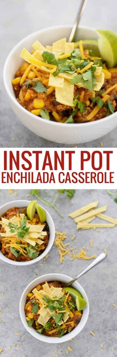 Instant Pot Enchilada Casserole. Cooked quinoa, beans, corn and corn tortillas in a homemade enchilada sauce. Delicious! #mexican #dinner #recipe #healthy #glutenfree #vegetarian #quinoa #weeknight | www.delishknowledge.com