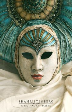 Nadine Shahristenberg  -  Decorative mask Turquoise Blue Butterfly