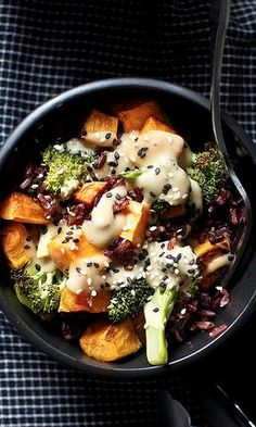 Miso sweet potato and broccoli bowl (veganize: substitute honey with vegan sweetener) agave nectar would be Fab!!! ;)